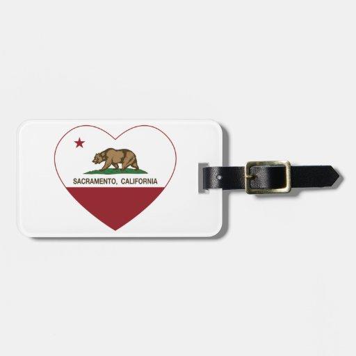 corazón de Sacramento de la bandera de California Etiquetas De Maletas