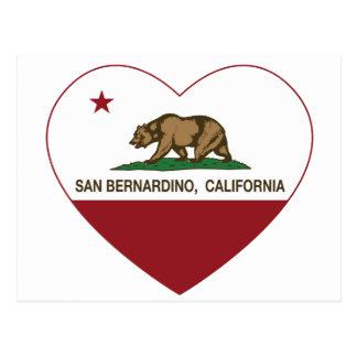 corazón de San Bernardino de la bandera de Califor Postales