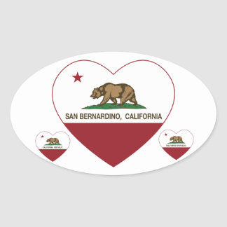 corazón de San Bernardino de la bandera de Pegatina Ovalada