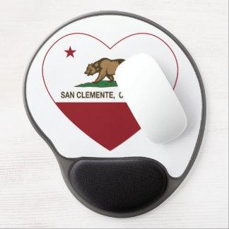 corazón de San Clemente de la bandera de Californi Alfombrillas De Raton Con Gel