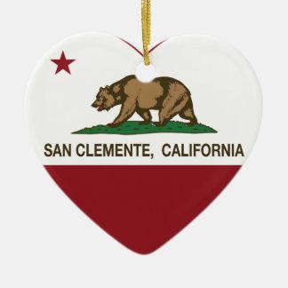corazón de San Clemente de la bandera de Californi Adorno De Navidad