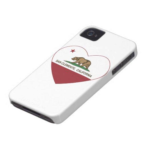 corazón de San Clemente de la bandera de Case-Mate iPhone 4 Coberturas