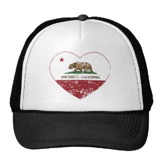 corazón de San Diego de la bandera de California a Gorras De Camionero
