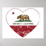 corazón de San Diego de la bandera de California a Poster