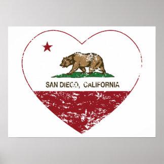 corazón de San Diego de la bandera de California a Póster