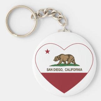 corazón de San Diego de la bandera de California Llavero Redondo Tipo Pin