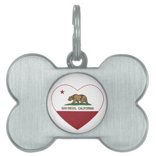 corazón de San Diego de la bandera de California Placa De Nombre De Mascota