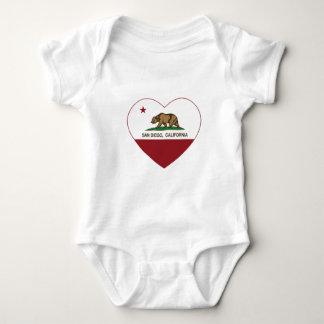 corazón de San Diego de la bandera de California Polera