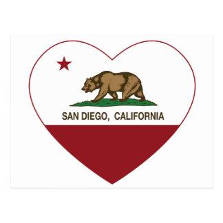 corazón de San Diego de la bandera de California Tarjetas Postales