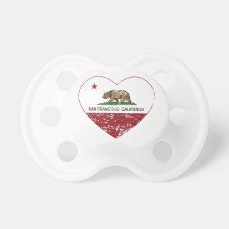 corazón de San Francisco de la bandera de Californ Chupete De Bebe