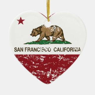 corazón de San Francisco de la bandera de Californ Ornaments Para Arbol De Navidad