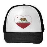 corazón de San Francisco de la bandera de Californ Gorros