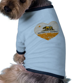 corazón de San Francisco de la bandera de Californ Camiseta De Mascota