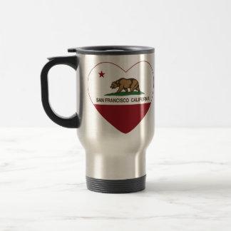 corazón de San Francisco de la bandera de Californ Taza De Viaje De Acero Inoxidable