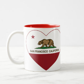 corazón de San Francisco de la bandera de Californ Taza Dos Tonos