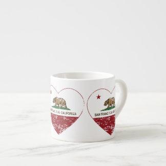 corazón de San Francisco de la bandera de Californ Taza Espresso