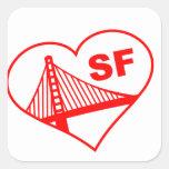 Corazón de San Francisco del amor Pegatinas Cuadradas Personalizadas