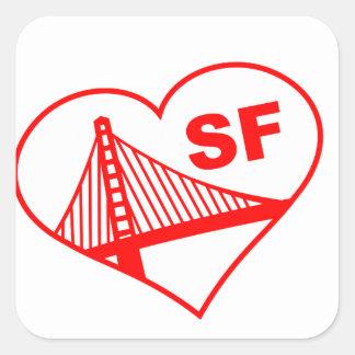 Corazón de San Francisco del amor Pegatinas Cuadradases