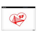 Corazón de San Francisco del amor Skins Para 43,2cm Portátil
