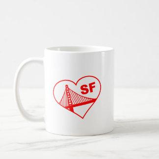 Corazón de San Francisco del amor Taza Básica Blanca