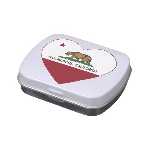 corazón de San Marcos de la bandera de California Jarrones De Caramelos