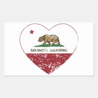corazón de San Mateo de la bandera de California Pegatina Rectangular