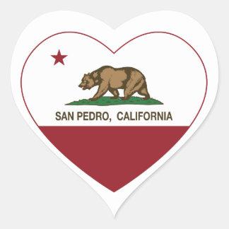 corazón de San Pedro de la bandera de California Pegatina En Forma De Corazón