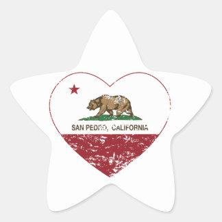 corazón de San Pedro de la bandera de California Pegatina En Forma De Estrella