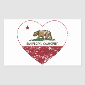 corazón de San Pedro de la bandera de California Pegatina Rectangular