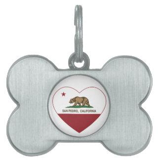 corazón de San Pedro de la bandera de California Placas De Nombre De Mascota