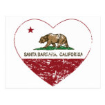 corazón de Santa Barbara de la bandera de Californ Tarjeta Postal