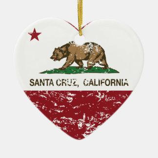 corazón de Santa Cruz de la bandera de California  Adorno De Navidad
