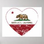 corazón de Santa Cruz de la bandera de California  Impresiones