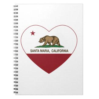 corazón de Santa María de la bandera de California Cuadernos