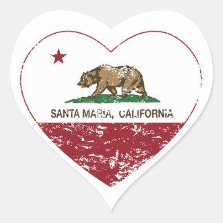 corazón de Santa María de la bandera de California Calcomanía De Corazón Personalizadas