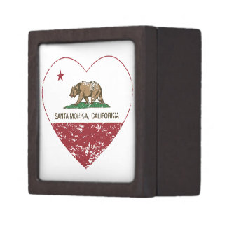 corazón de Santa Mónica de la bandera de Californi Cajas De Recuerdo De Calidad