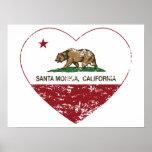 corazón de Santa Mónica de la bandera de Californi Impresiones