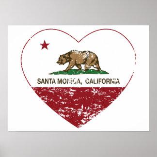 corazón de Santa Mónica de la bandera de Californi Póster