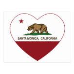 corazón de Santa Mónica de la bandera de Californi Tarjetas Postales