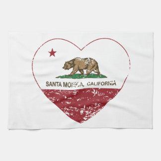 corazón de Santa Mónica de la bandera de Californi Toallas De Mano