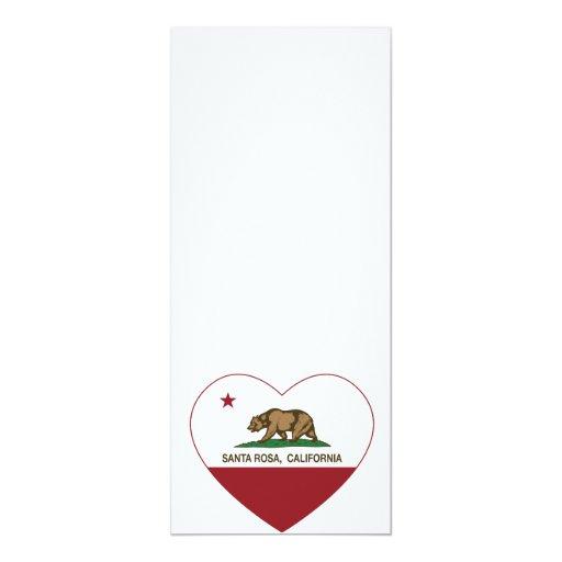 """corazón de Santa Rosa de la bandera de California Invitación 4"""" X 9.25"""""""