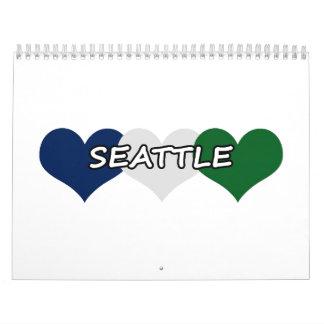 Corazón de Seattle Calendario De Pared