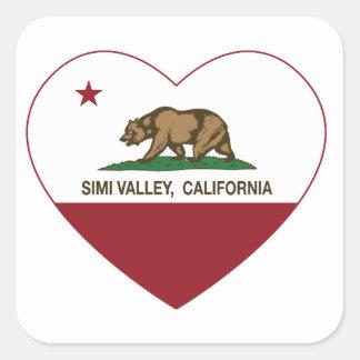 corazón de Simi Valley de la bandera de California Pegatina Cuadrada