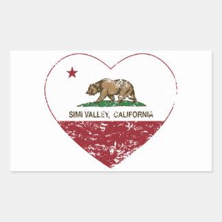 corazón de Simi Valley de la bandera de California Pegatina Rectangular