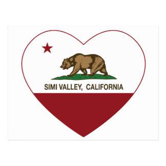 corazón de Simi Valley de la bandera de California Postales
