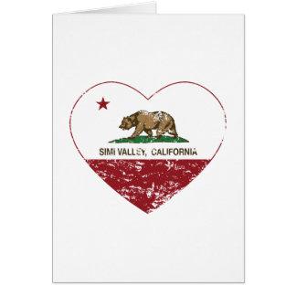 corazón de Simi Valley de la bandera de California Tarjeta De Felicitación