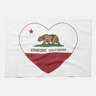 corazón de Stanford de la bandera de California Toalla De Cocina