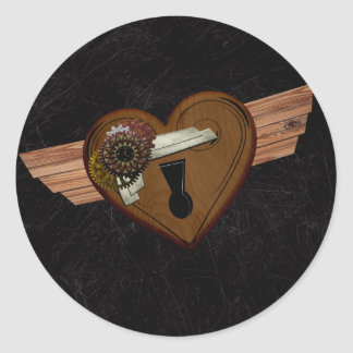 Corazón de Steampunk del Grunge Pegatina Redonda