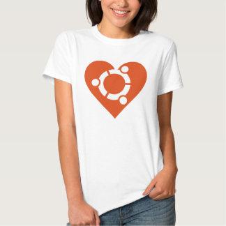 Corazón de T-shirts de Ubuntu de señora Playeras