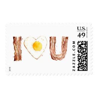 Corazón de tocino y del huevo I usted franqueo de Sello